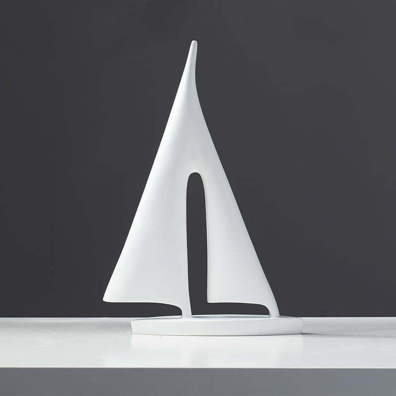 Żaglówka, Łódka - Figurka Ozdobna Ceramiczna Biała