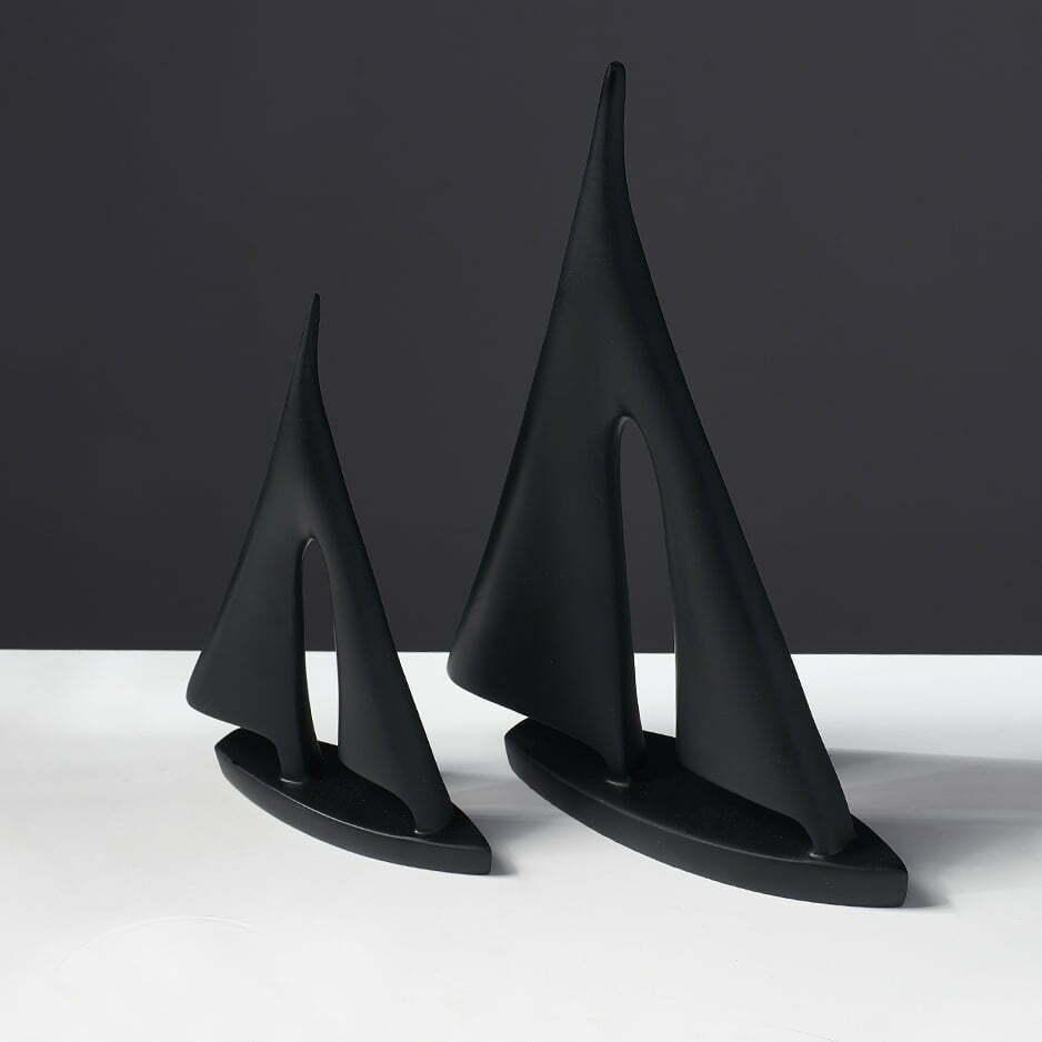Żaglówka, Łódka - Figurka Ozdobna Ceramiczna Czarna