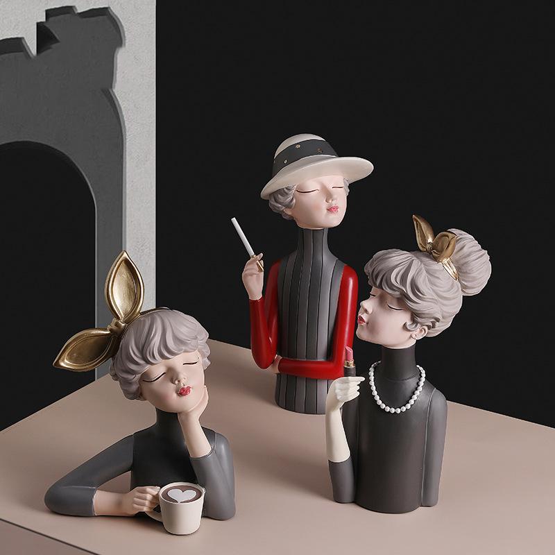 Figurki ozdobne ceramiczne nordyckie dama dziewczyna królik z papierosem kubkiem