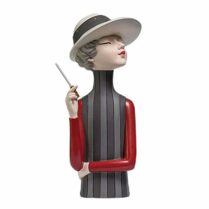 Figurki ozdobne ceramiczne nordyckie dama dziewczyna z papierosem