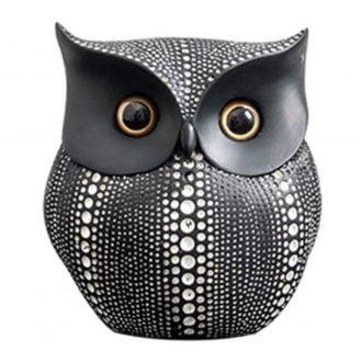 figurka ceramiczna ozdobna sowa czarna
