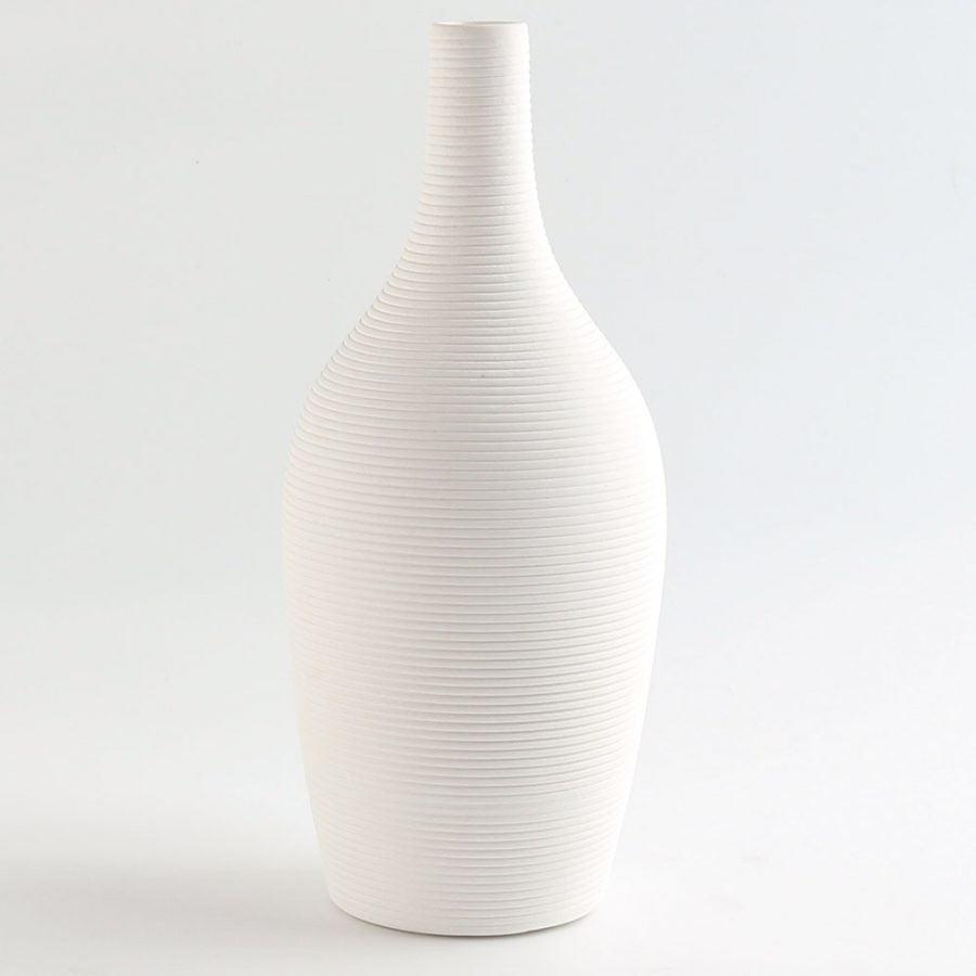Biały Dekoracyjny Wazon Ceramiczny Wąski Ozdobny
