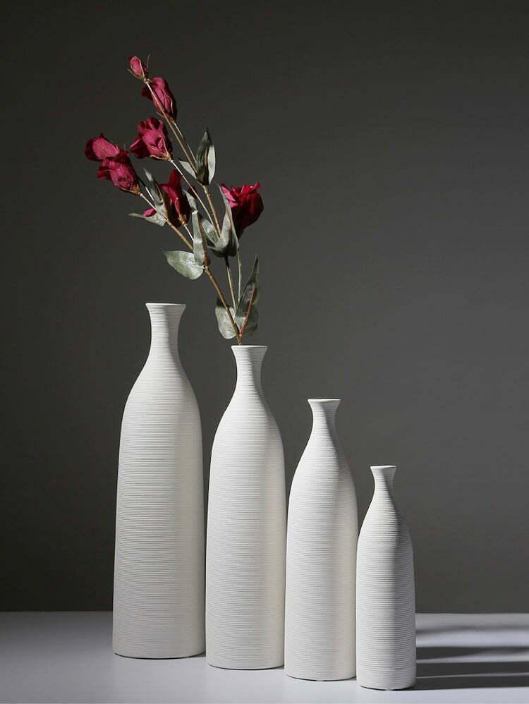 Biały Dekoracyjny Wazon Ceramiczny Wysoki Ozdobny