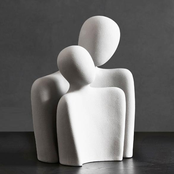 dwie figurki ceramiczne ozdobne biała czarna para
