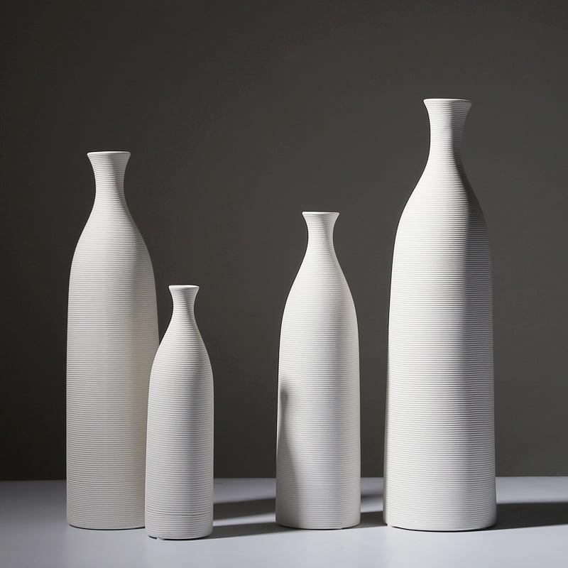 Biały Dekoracyjny Wazon Ceramiczny Wysoki Ozdobny (17)